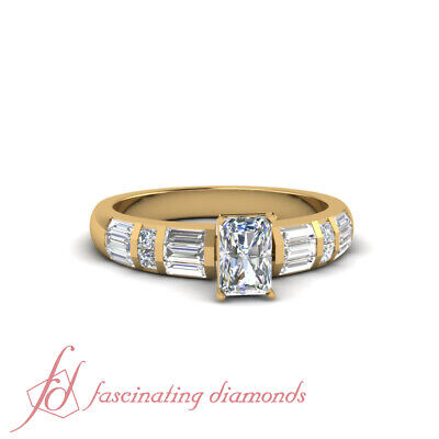 1.2 Ct Princess And Baguette Diamond Engagement Ring With Center Radiant Cut GIA