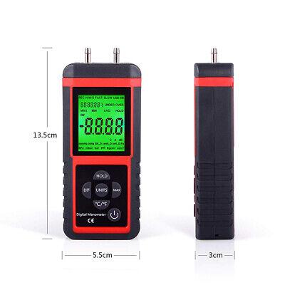 Digital Manometer Dual Port Air Pressure Meter 2 Pipes Air Flow Test 2.999
