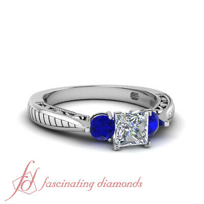 Sapphire And Princess Cut Diamond Antique Art Deco Engagement Rings 1.15 Ct GIA