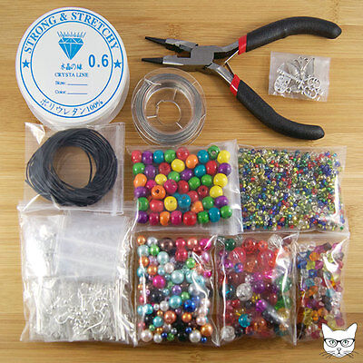 Jewellery Making Starter Kit - Pliers Beads Charms Silver Plated Findings Cords