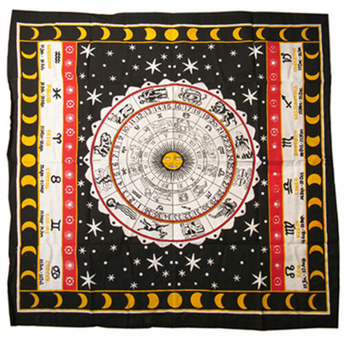 """NEW Zodiac Tapestry Altar Cloth 40"""" Printed Cotton Table Cover or Wall Hanging"""