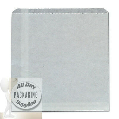 1000 SMALL WHITE GREASEPROOF PAPER BAGS SIZE 6 X 6