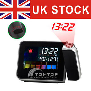 Digital LCD LED Projector Alarm Clock Projecting Weather Station Thermometer UK