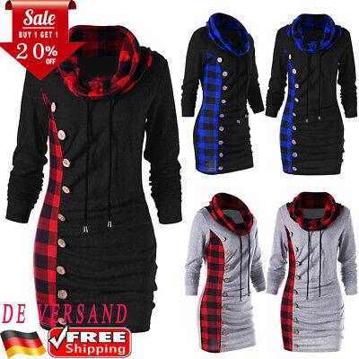 DE Damen Rollkragen Pullover Kleid Sweatshirt Longtop Sweater Longshirt (Erwachsene Kleider)