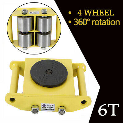 6 T Heavy Duty Machine Dolly Skate Machinery Roller Mover Cargo Trolley 4 Wheels