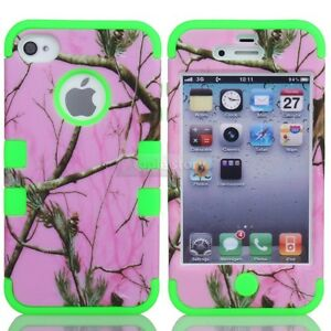 TRIPLE LAYER HYBRID REAL TREE CAMO HYBRID HARD CASE COVER FOR iPhone 4 4G 4S