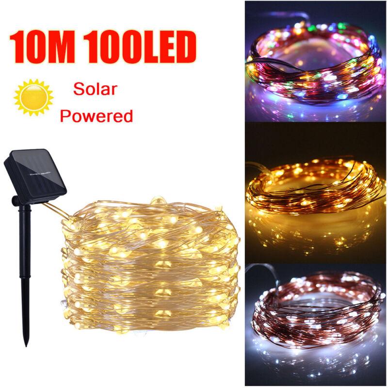 10/20m led lumière guirlande lumineuse étanche extérieur solaire décor de noël