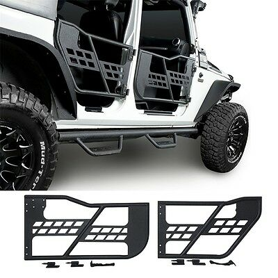 4 Door Set Rock Crawler Off Road Front+Rear Tubular for 07-17 Jeep Wrangler JK