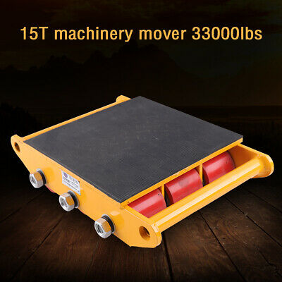 15t Yellowheavy Duty Machine Dolly Skate Machinery Roller Mover Cargo Trolley