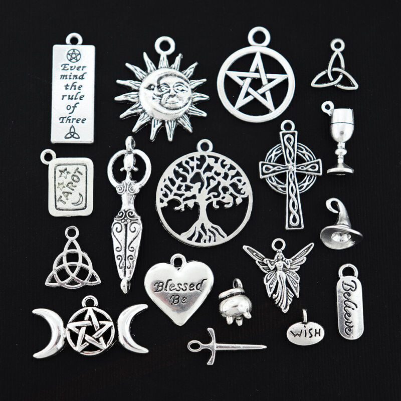 Wiccan Charm Collection Antique Silver Tone 18 Different Charms - COL016