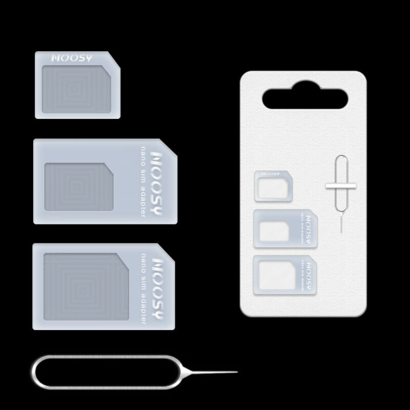Sim Card Adapter Kit 4 in1 Nano Micro Standard Size Converter Tray for CellPhone