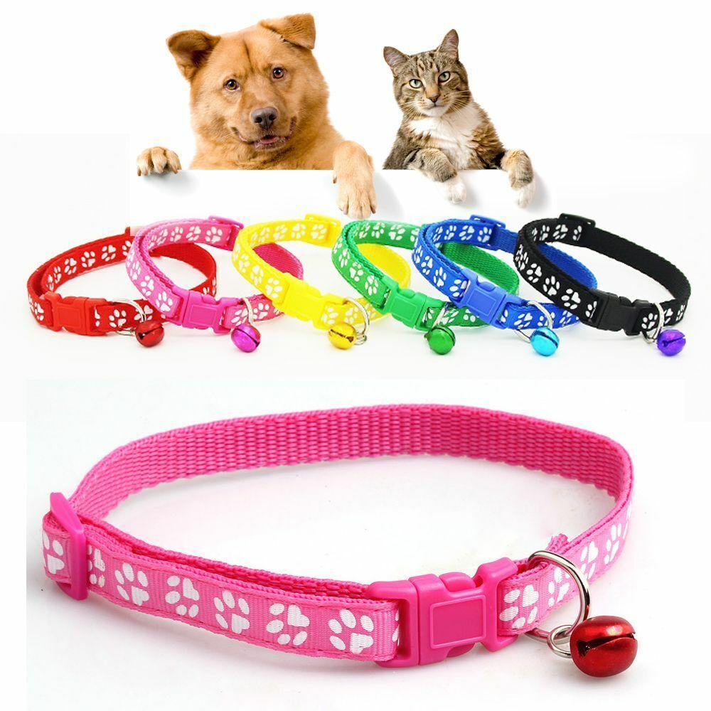 Dog Cat Collar ~ CUTE Footprint ~ Buckle Bell paw print Pattern Kitten Puppy Collars