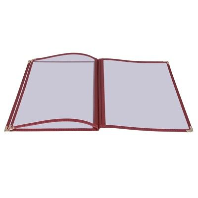 30pc Restaurant 8.5x14 Menu Cover Trifold 6 View 3 Page Cafe Book Clear Burgundy