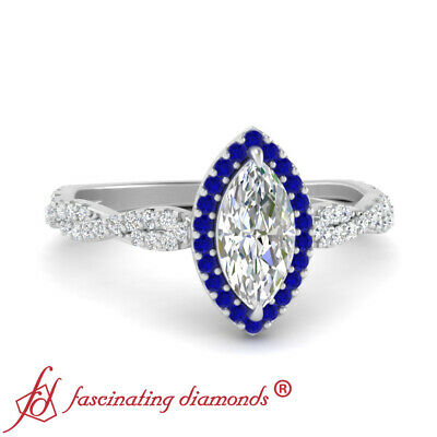 .75 Ct Marquise Cut Diamond And Sapphire Gemstone 18K White Gold Engagement Ring