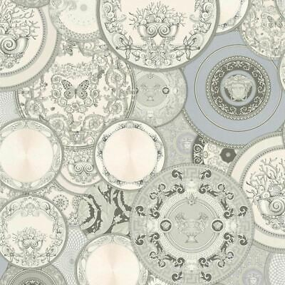 Versace Plates Metallic Wallpaper Grey Vinyl Paste Wall Les Etoiles De La Mer