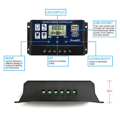 PWM 30A Solar Charge Controller 12V 24V LCD Display Dual USB Solar Panel Charger Solar Panel Controller
