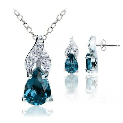 925 Silver 1.8ct London Blue & White Topaz Swirl Teardrop Necklace Earrings Set