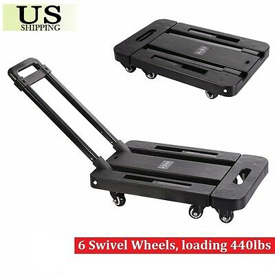 440lbs Platform Cart Dolly Folding Moving Luggage Hand Truck Trolley Heavy Duty