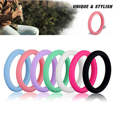 Women's Stackable Silicone Outdoor Sport Rings Safety Soft Wedding Bands 7 Color