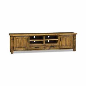 LARGE TV UNIT SOLID PINE DISTRESSED OAK FINISH  2380 LENGTH Thebarton West Torrens Area Preview