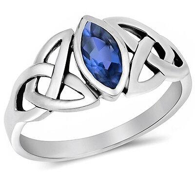 Celtic Design Blue Sapphire .925 Sterling Silver Ring Sizes 4-11 Blue Sapphire Celtic Ring
