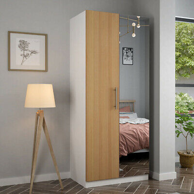 Mirrored Wardrobe 2 Door Bedroom Furniture White, Oak Finish Door