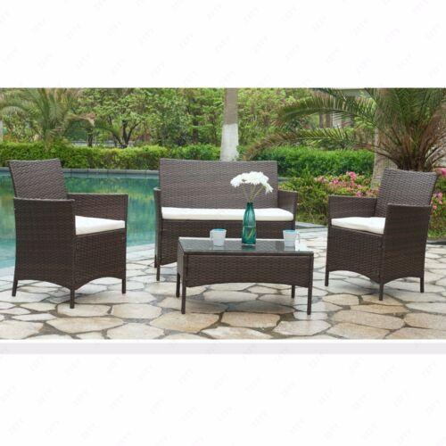 Garden Furniture - 4PC Patio Rattan Wicker Furniture Set Cushioned Sofa & Table Outdoor Garden