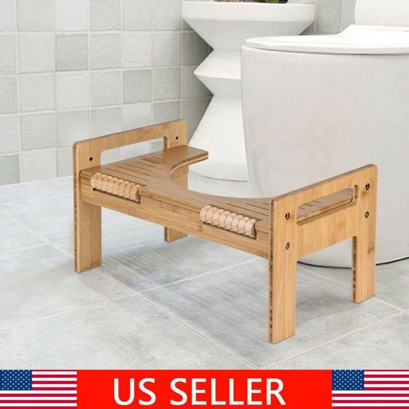 Adjustable Bamboo Squatty Potty Toilet Stool Portable Bathro