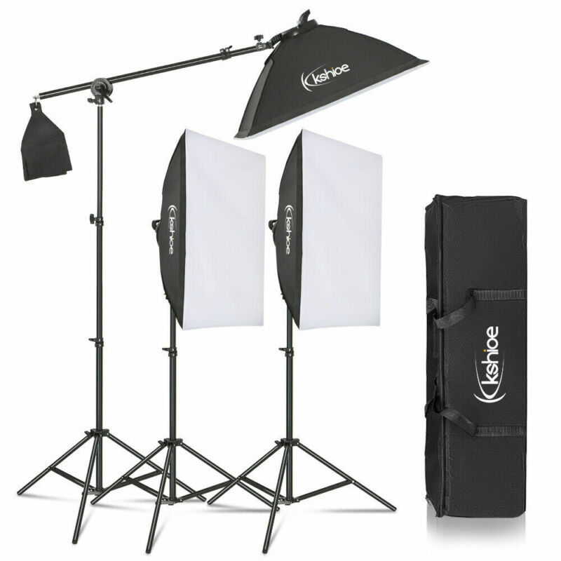 135W Photo Studio Photography 3 SoftBox LED Light Stand Continuous Lighting Kit