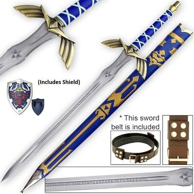 Sharp Full Tang Legend of Zelda Link Steel Master Sword Shield cosplay gift set for sale  Shipping to Canada