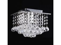 Job Lot Small Square Chrome Ceiling Lights Crystal Droplet Chandelier
