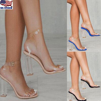 Women Clear Transparent Shoes Block High Heels Ankle Strap Open Toe Sandals -