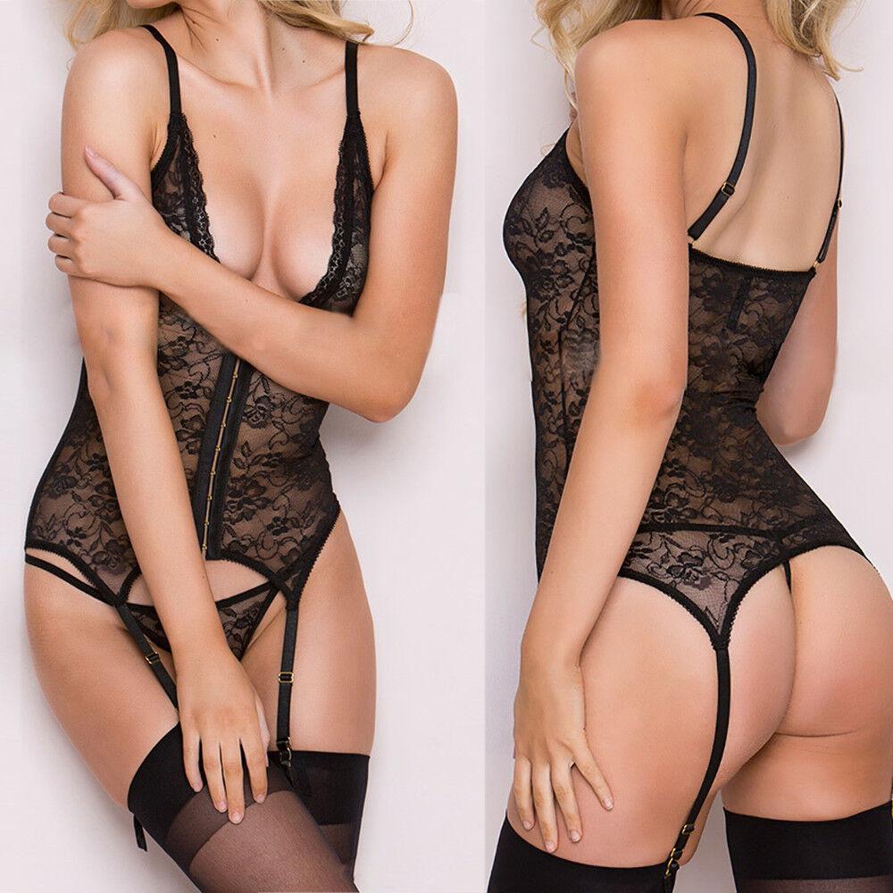 Women Lace Passion Lingerie Deep V Babydoll Sleepwear Garter Suspender Briefs mt