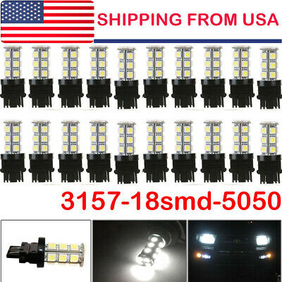 20* White 3157 18 SMD LED Tail Brake Stop Backup Reverse Turn Signal Light Bulbs