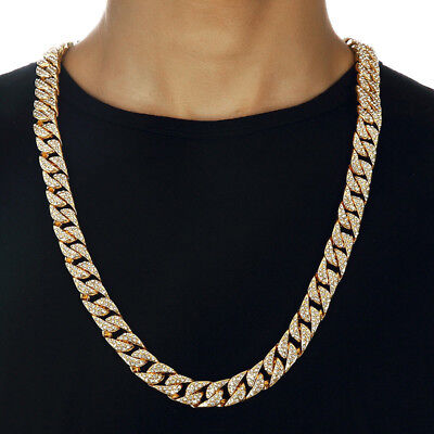 "Men Gold PT 15mm 20"" Miami Cuban Choker Chain Necklace Jewelry Popular HM"