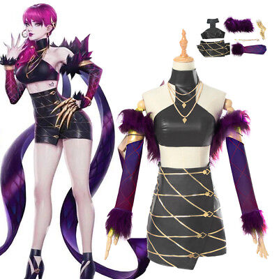 Pop Star Outfit (LOL KDA Evelynn Cosplay Costume Outfit Pop Star Necklacce Gloves Top Skirt)