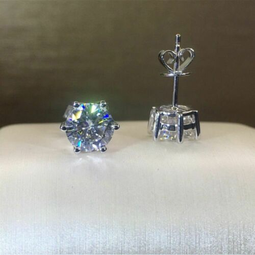 Solid 14K White Gold Forever Moissanite Solitaire Stud Earrings 3.00Ct Round Cut