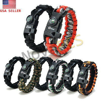 Camping Gear Kit Paracord Survival Bracelet Compass Flint Fire Starter Whistle