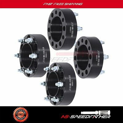 """4pcs 2"""" 6 Lugs 6x5.5 to 6x5.5 wheel spacers For Toyota Tacoma Black 12x1.5 studs"""