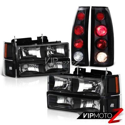 1994 1995 1996 1997 1998 Chevy K1500 C1500 Suburban Black Headlight Tail Lights