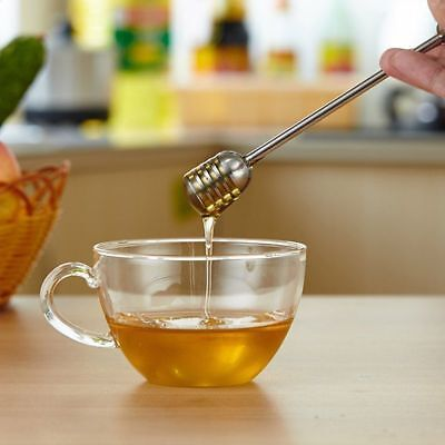 Stainless Steel Honey Dipper Stick Spoon Dip Drizzler Server Mixing Bee Can Baby