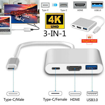 Type C to USB-C 4K HDMI USB 3.0 Hub Multi Port Adapter Cable For Apple Macbook