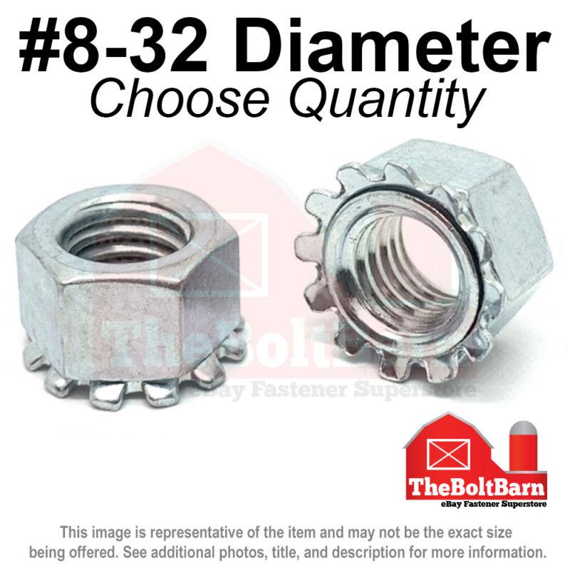 #8-32 K Lock Hex Lock Nuts Keps Zinc Plated COARSE Thread (Pick Quantity)