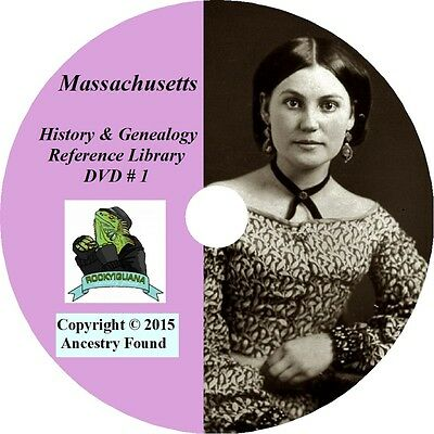 MASSACHUSETTS - History & Genealogy -336 Books on DVD - Ancestors,County,CD,MA