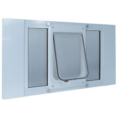 Pet Door Sash Windows for Cats Dogs Magnetic Flap Lockable White Plastic Framed