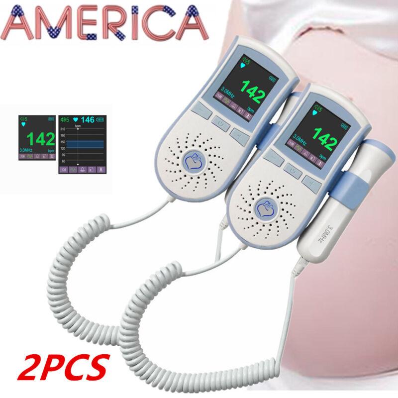 2xPocket Fetal Doppler Prenatal Heart Baby +3MHz Probe Dual Interface WATERPROOF