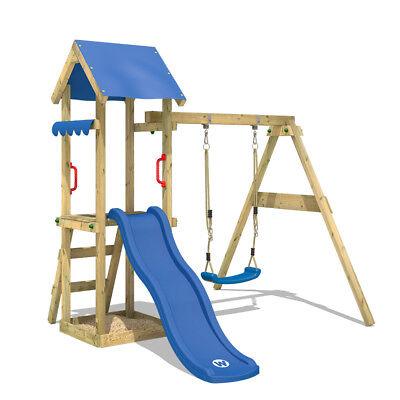 WICKEY Spielturm Klettergerüst TinyWave Blaue Rutsche Schaukel Garten Holz