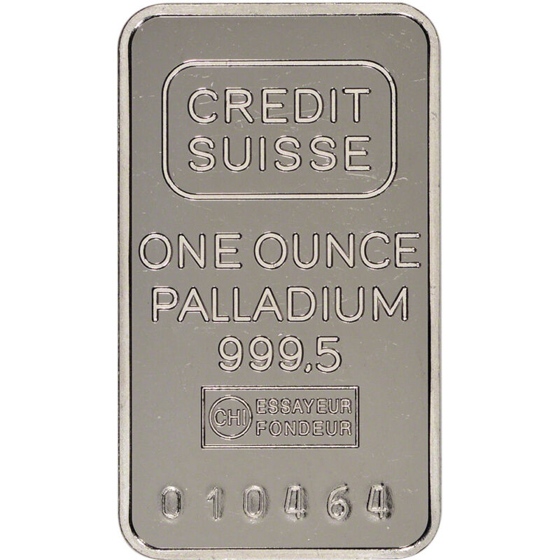 1 oz. Palladium Bar - Credit Suisse - 999.5 Fine