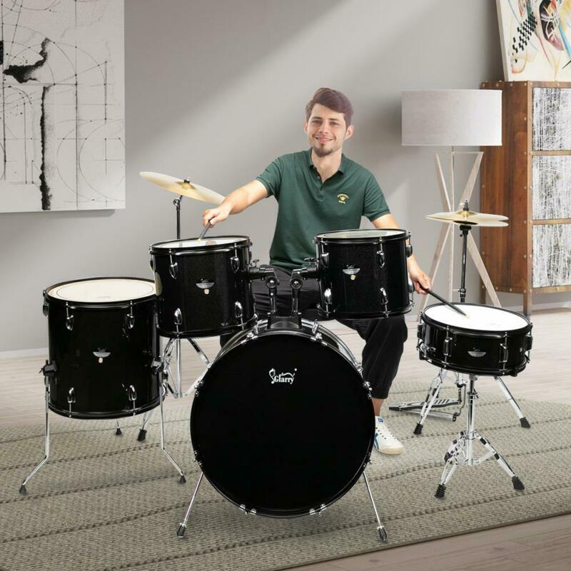 5-Piece Complete Full Size Pro Adult Drum Set Kit with Tom Drum Snare Drum Bench