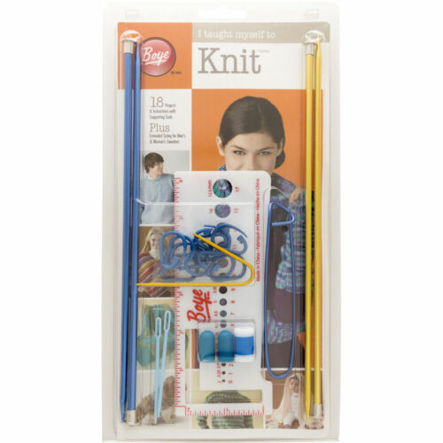 """Boye New """"I Taught Myself To Knit"""" Kit 18 Projects With Instructions & Tools"""
